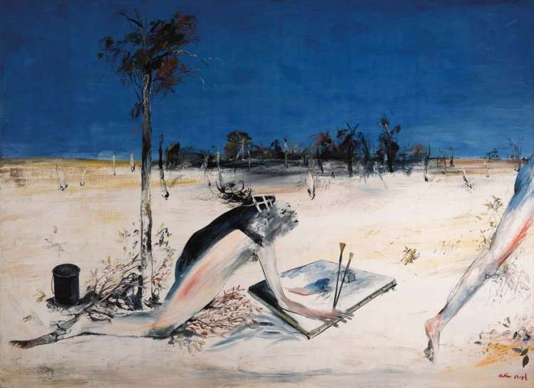 Large Kneeling Figure with Canvas and Black Can by ARTHUR BOYD