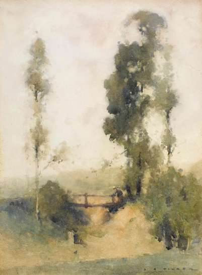 The Old Footbridge, Galston by J.J. HILDER