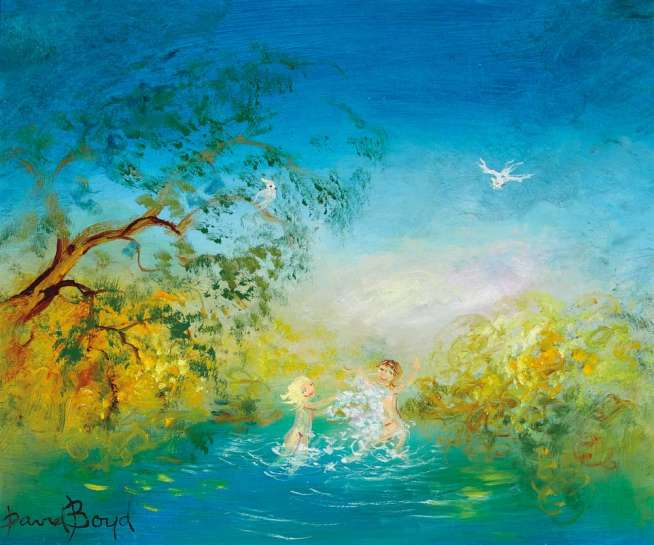 Bathers under the Wattle by DAVID BOYD
