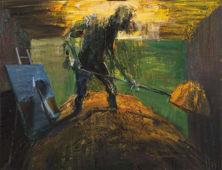 Digger in Room with Painting by EUAN MACLEOD