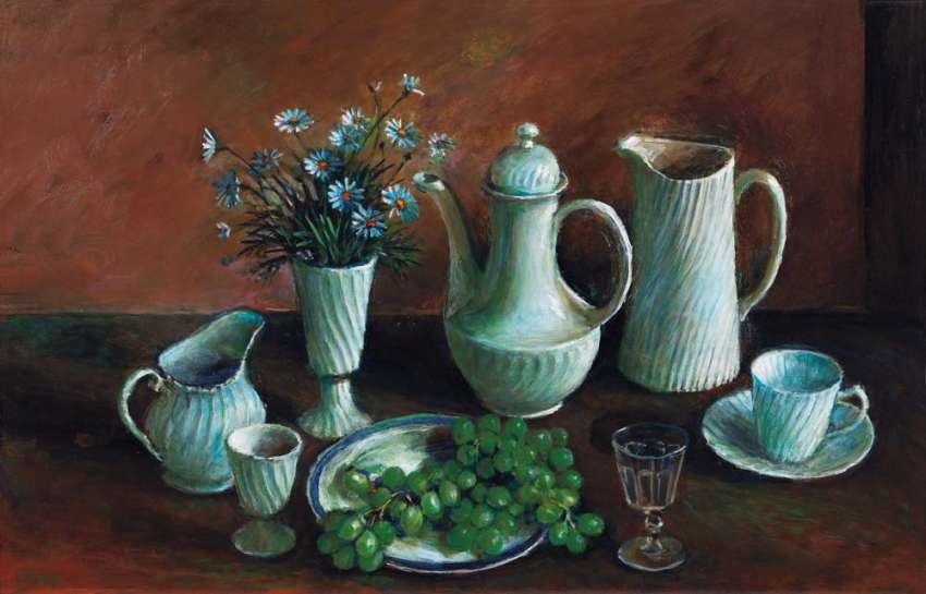 Untitled (Still Life with Daisies and Grapes) by MARGARET OLLEY