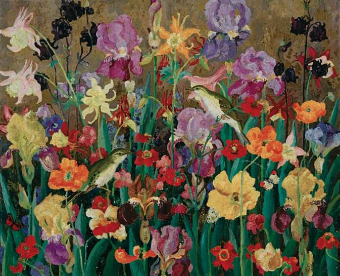 July Flowers and Wood Warblers by CEDRIC MORRIS
