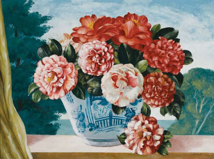Camellias in a Chinese Vase by ADRIAN FEINT