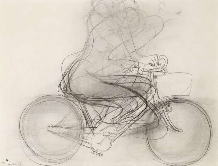Girl Riding a Bicycle by BRETT WHITELEY