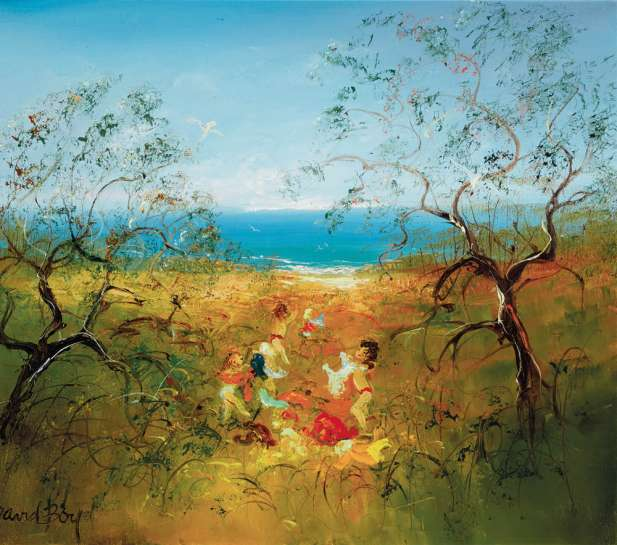 Children Playing by the Sea by DAVID BOYD