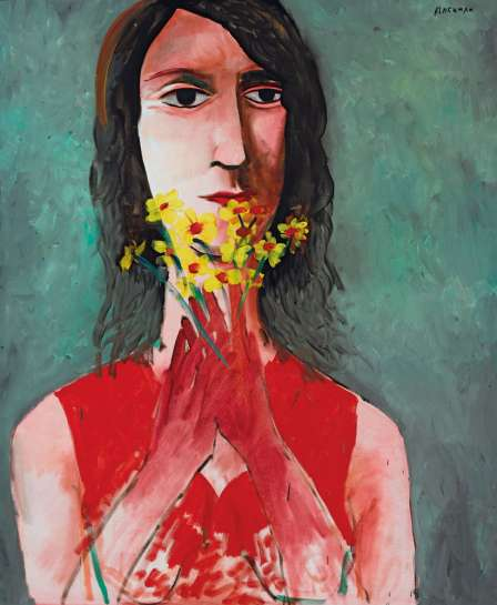 Red Dress and Yellow Jonquils by CHARLES BLACKMAN