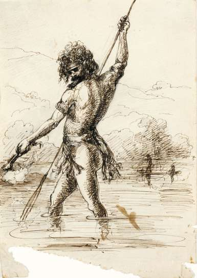 Study for Aborigine Fishing by Torchlight by THOMAS BALCOMBE