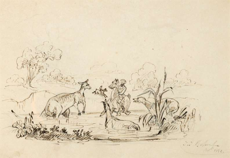 Sketch of a Man, Horse, Dog and Kangaroo in Water Bank by THOMAS BALCOMBE