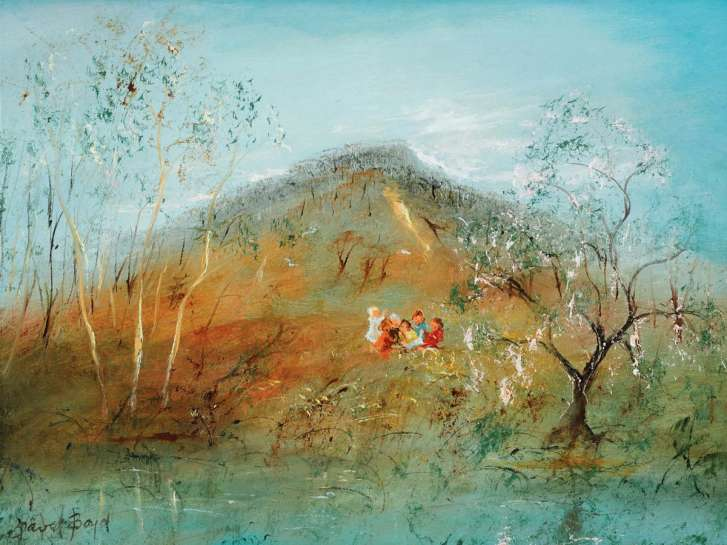 Children Playing on Hillside by DAVID BOYD