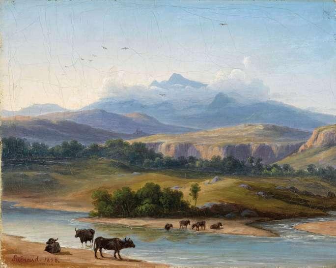 Landscape (Sele River near Paestum) by EUGENE VON GUノRARD