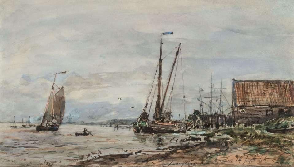 Bateaux sur l'Escaut pres d'Anvers (Boats on the Scheldt near Antwerp) by JOHAN-BARTHOLD JONGKIND