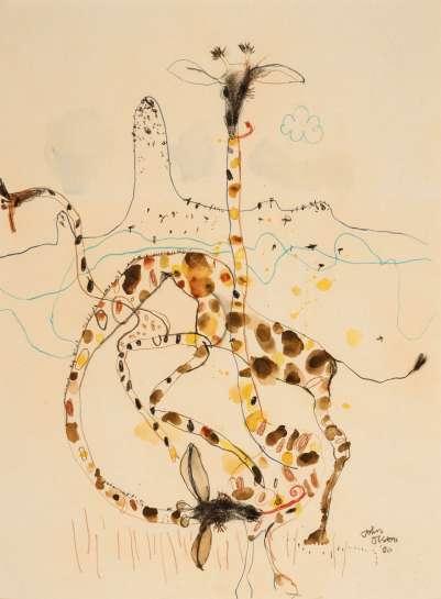 Giraffes and Mt. Kenya by JOHN OLSEN