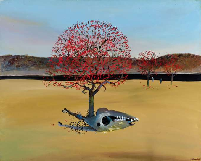 Flame Trees, Horse's Skull, Black River by ARTHUR BOYD