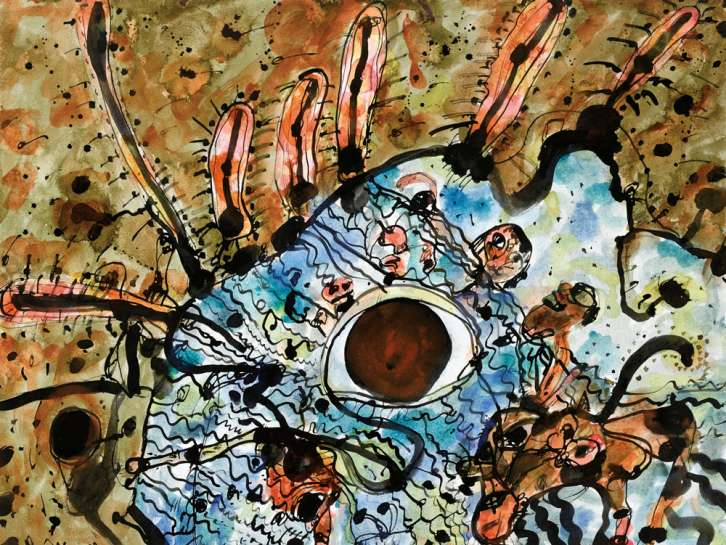 91. JOHN OLSEN Swimmer Surrounded by a Second Landscape EST: A$18,000 - A$24,000 image