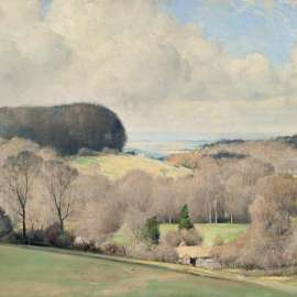 57. TOM ROBERTS A Kentish Landscape (Spring in Dorset) 1922 image