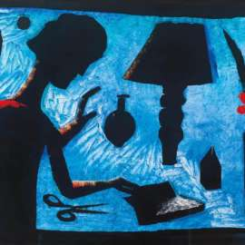 58. CHARLES BLACKMAN Girl at Table c1985 image