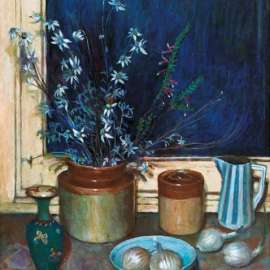 28. MARGARET OLLEY Still Life, Flannel Flowers and Onions c1976