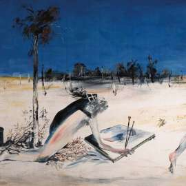 ARTHUR BOYD Kneeling Figure with Canvas and Black Can image