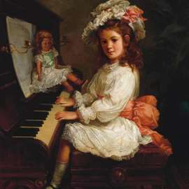 30. NICHOLAS CHEVALIER Portrait of Miss Winifred Hudson as a Young Girl, Seated at a Piano, her Doll Nearby 1888 image
