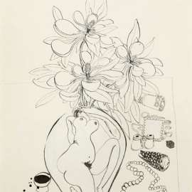38. BRETT WHITELEYPreliminary Drawing for Magnolia with Money (Painting to have Real Roll of Money)c1980image