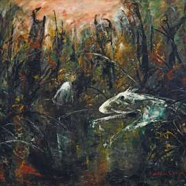 32. ARTHUR BOYD Child and White Dog by a Pond c1966 image