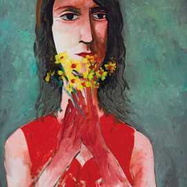 32. CHARLES BLACKMAN Red Dress and Yellow Jonquils image
