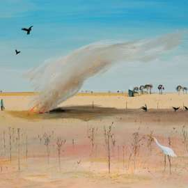 34. ARTHUR BOYD Wimmera Landscape with Fire and White Heron c1985 image