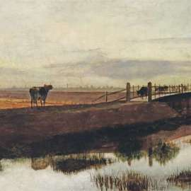 23. FREDERICK McCUBBIN Cows Crossing McCauley Creek, Looking towards Melbourne c1882 image