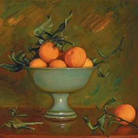 MARGARET OLLEY Mandarins in a Green Bowl image